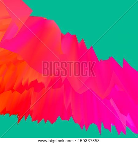 Glitch manipulations with 3D effect. Abstract flow with sharp peaks in red shades on green background. It can be used for web design and visualization of music