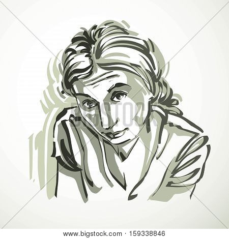 Vector Illustration Of Young Female, Art Image. Black And White Portrait Of Attractive Lady, Face Fe