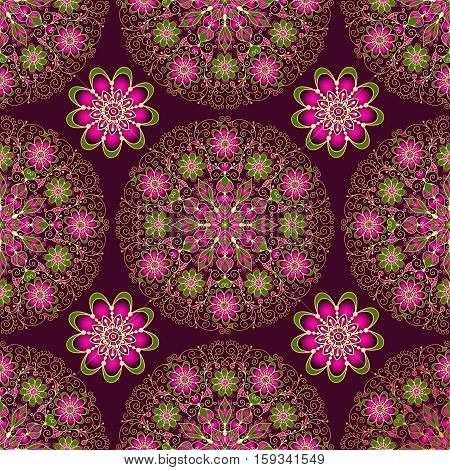 Vintage seamless dark purple pattern with lace circles and flowers vector