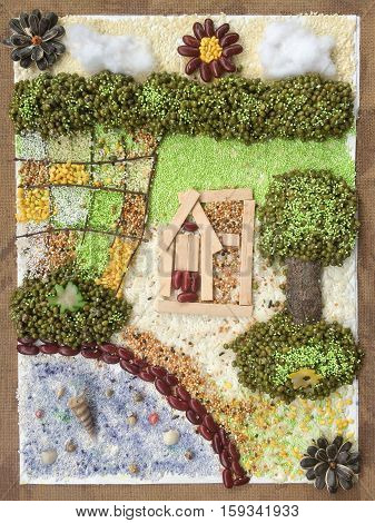 Collage art farmhouse with rich environment resource.Creative idea nature crafts.