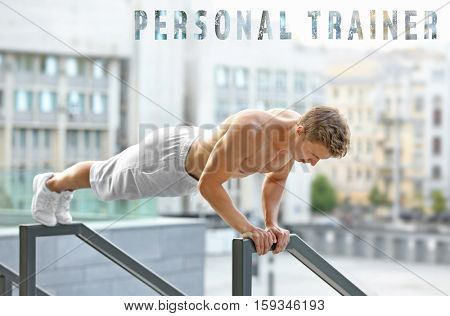 Young man doing exercises outdoor. Text PERSONAL TRAINER on background. Sport concept.