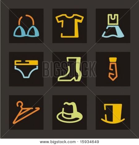 Trade and merchandise icons set. Clothes. Check my portfolio for much more of this series as well as thousands of similar and other great vector items.