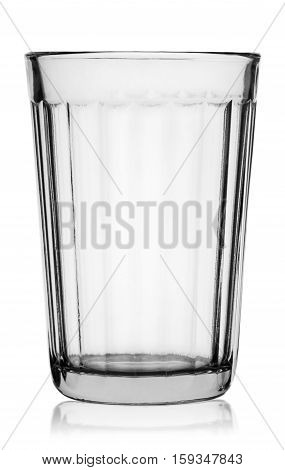 Empty vintage faceted glass isolated on white background