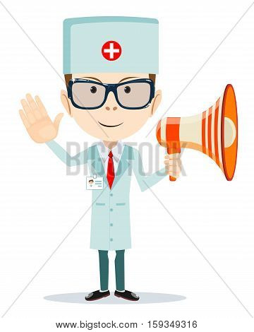 Doctor man with a Megaphone shows that all is well. Stock vector illustration