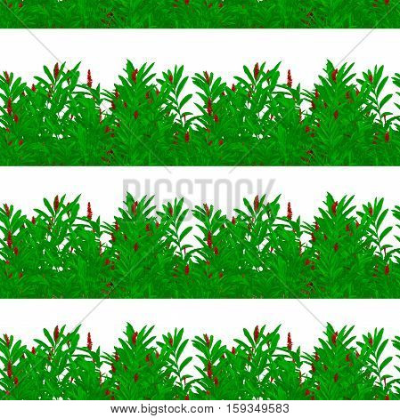 Digital photo collage and manipulation technique nature motif horizontal stripes seamless pattern design in green and red tones against white