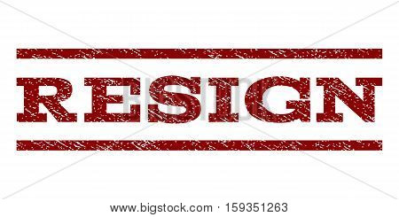 Resign watermark stamp. Text caption between horizontal parallel lines with grunge design style. Rubber seal dark red stamp with scratched texture. Vector ink imprint on a white background.