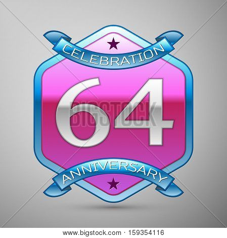 Sixty four years anniversary celebration silver logo with blue ribbon and purple hexagonal ornament on grey background.