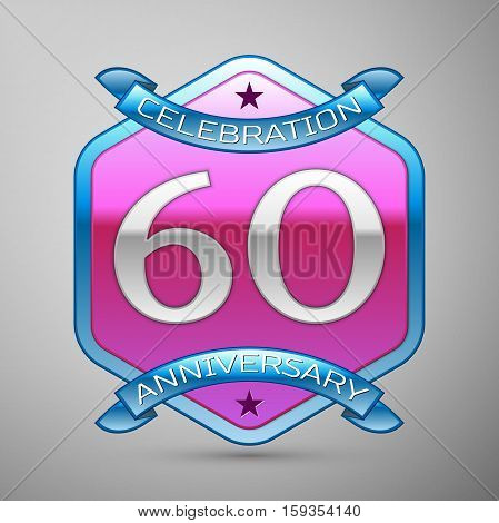 Sixty years anniversary celebration silver logo with blue ribbon and purple hexagonal ornament on grey background.