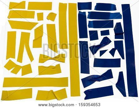 Collection of yellow and blue adhesive tape pieces