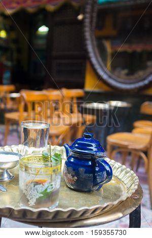 Tea set in an oriental cafe  - Cairo, Egypt