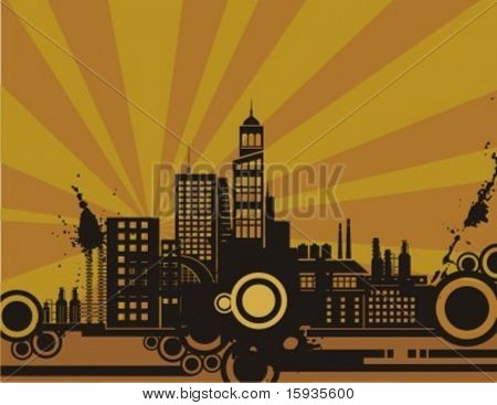 Sunset cityscape silhouette background series. Check my portfolio for much more of this series.