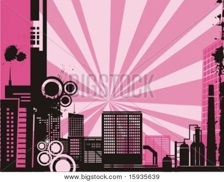 Sunrise cityscape silhouette background series. Check my portfolio for much more of this series as well as thousands of similar and other great vector items.