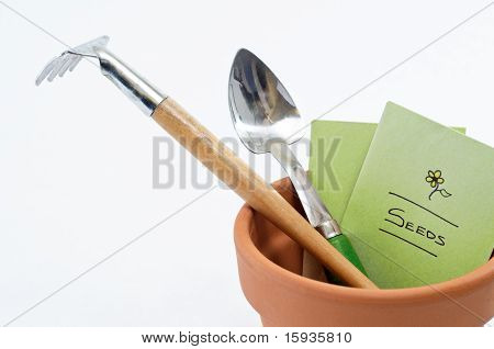 Plant Pot Tools And Seeds