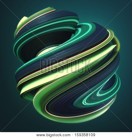 Green yellow abstract twisted shape. Computer generated geometric illustration. 3D rendering