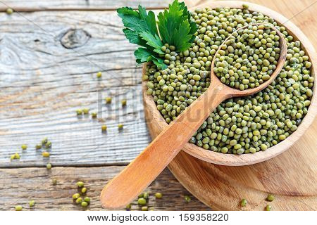 Mung Beans In A Wooden Bowl.