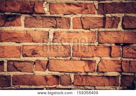Vintage brick wall as urban background in retro style