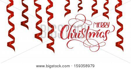 Red ribbons streamer as decoration for Christmas with text Merry Christmas. Lettering calligraphy.