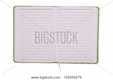 Green open notebook isolated on white background with soft shadow (Clipping path)