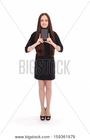 Teenage girl holds tablet computer isolated on white