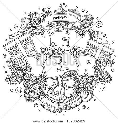 New Year composition in doodle style. Floral, ornate, tribal, decor design elements. Black and white background. Christmas tree, bells, bow. Zentangle coloring book page