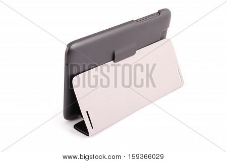Black tablet PC isolated on white background rear view. Photo with clipping path