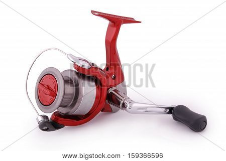 Reel fishing rod isolated on white background. Closeup with clipping path