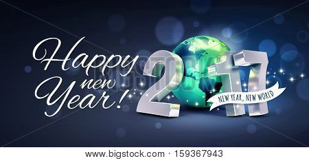 Greetings and 2017 New Year type composed with a green planet earth on a glittering blue background - 3D illustration
