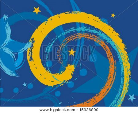Abstract grunge colorful background with spiral and star elements.