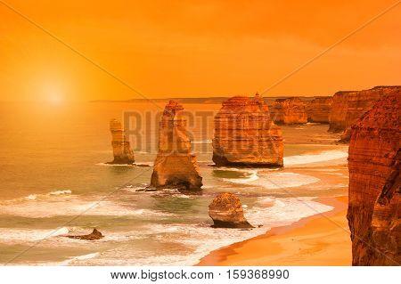 Sunset at Twelve Apostles along the Great Ocean Road in Australia, near Melbourne