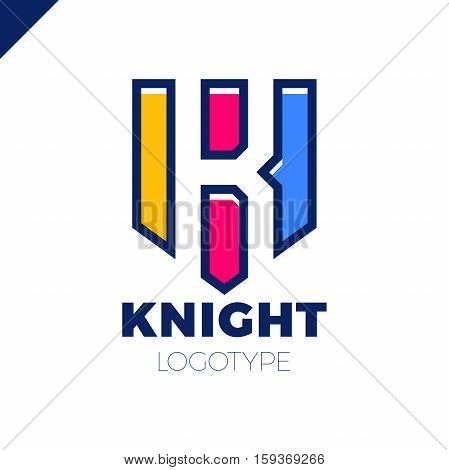Abstract Letter K Shield Logo Design Template. Knight Defender Vector Icon. Letter In Negative Space