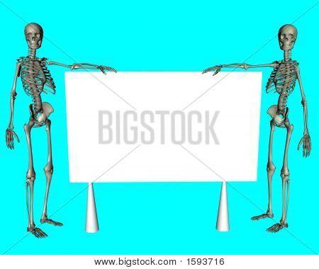 Esqueletos segurando um cartaz em branco