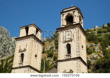 Fragment of Cathedral of Saint Tryphon in old town of Kotor Montenegro