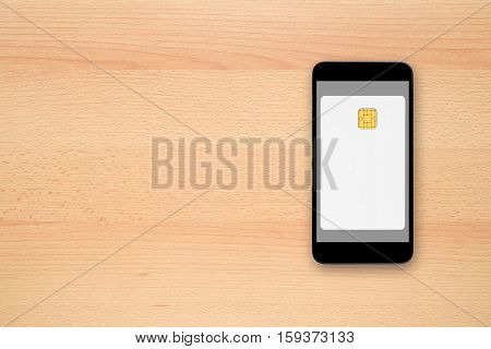 Blank credit card on smartphone screen - contactless payment concept