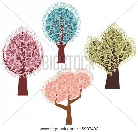 Vector spring tree designs in a single style. Check my portfolio for more of this series as well as thousands of other great vector items.