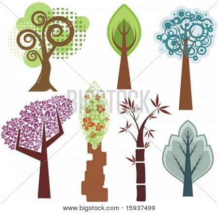 Vector tree designs in various styles. Check my portfolio for more of this series as well as thousands of other great vector items.