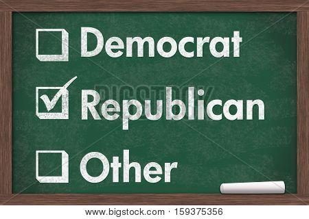 Choosing your political party Chalkboard with a piece of chalk and text Democrat Republican Other 3D Illustration