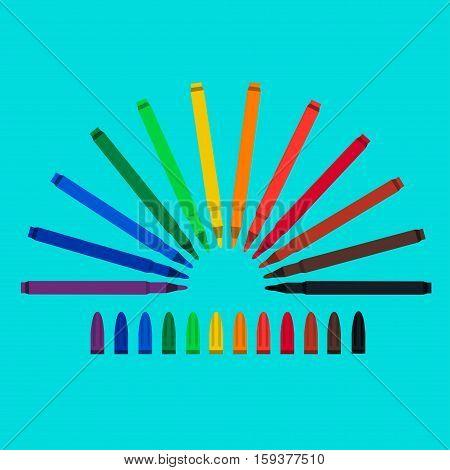 Set of felt-tip pens, red, green, yellow, purple, brown, black, biscuit, orange chlorine blue purple mazarine Vector art colourful highlighters
