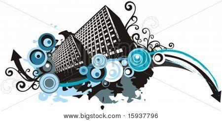 Edificios urbanos vector fondo en estilo grunge. Comprobar mi cartera para mucho más de esta serie un