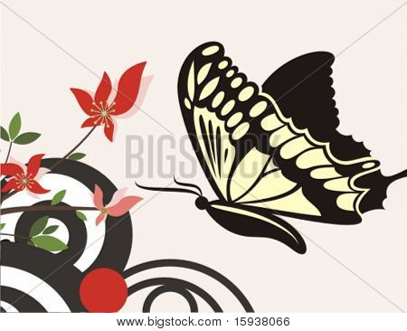 Floral vector background with a swallowtail butterfly. Check my portfolio for many more of this series as well as thousands of similar and other great vector items.