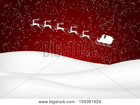 Santa Claus rides in a sleigh reindeer on red background.