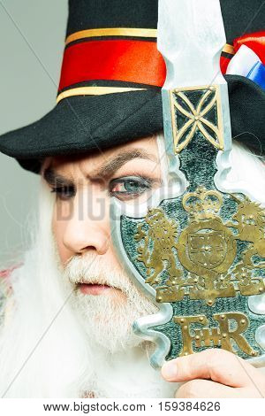 Frown Senior Man Bearded Beefeater