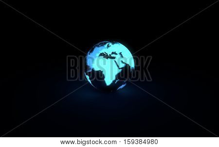 Abstract 3d model of blue glowing earth globe on black background. Front African continent