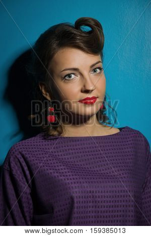 Closeup young woman pretty pinup girl retro vintage 50's style
