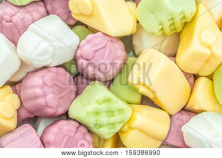 a lot of colorful fruit gummy confectionery