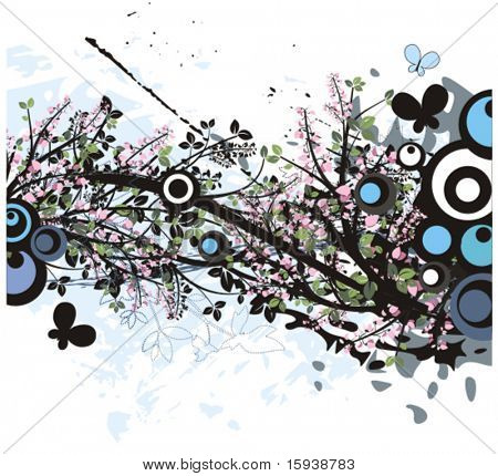 Floral foliage vector background with butterflies. Check my portfolio for many more of this series as well as thousands of similar and other great vector items.