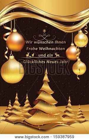 German greeting card: We wish you Merry Christmas and Happy New Year: Wir wunschen Ihnen Frohe Weihnachten und ein Gluckliches Neues Jahr, for winter holiday. Print colors used. Custom size