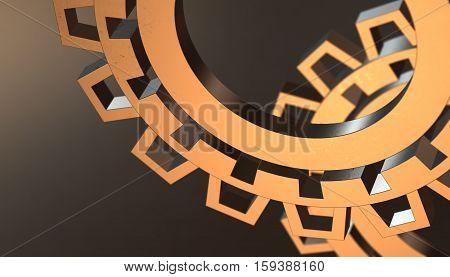 Abstract wheel industrial orange gears. 3d render background