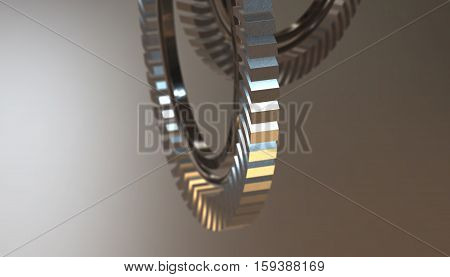 Abstract wheel industrial gears. 3d render silver background