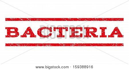 Bacteria watermark stamp. Text caption between horizontal parallel lines with grunge design style. Rubber seal red stamp with dust texture. Vector ink imprint on a white background.