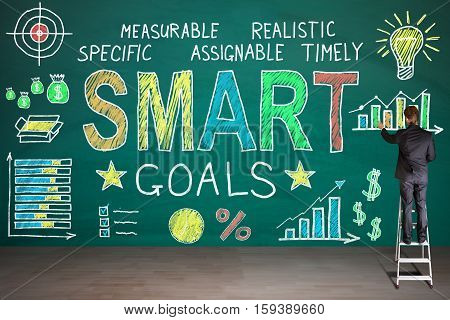 Rear View Of Businessperson Standing On Staircase Drawing Smart Goals Concept On Blackboard